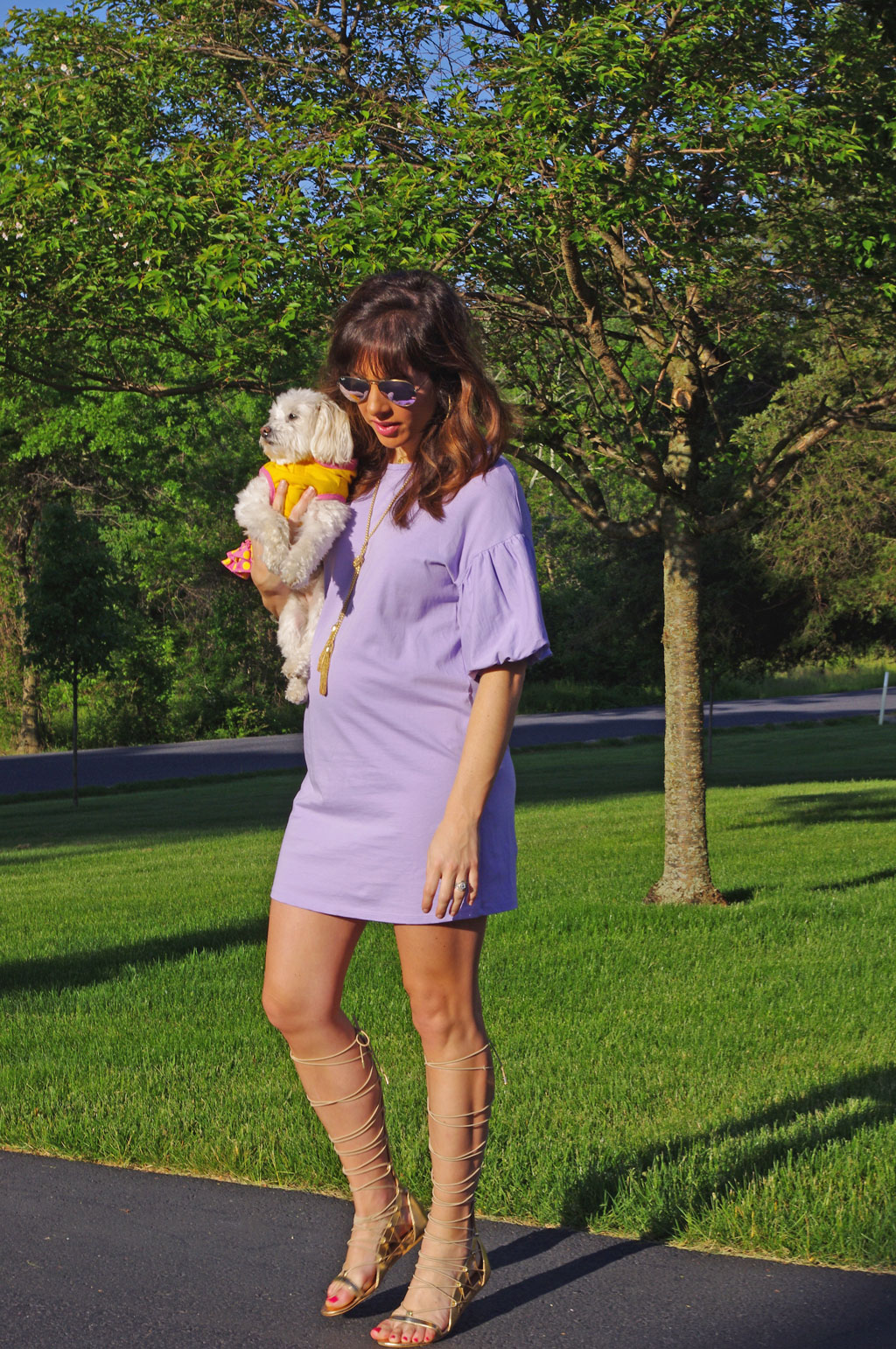 purple-zara-ruffle-sleeve-dress